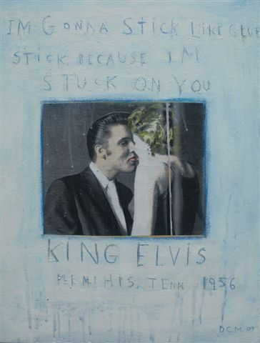 David McGough painting Elvis, Stuck on You