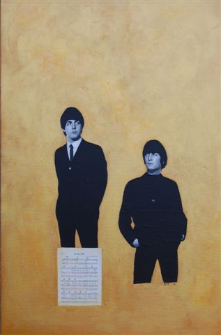 David McGough painting Gold Beatles