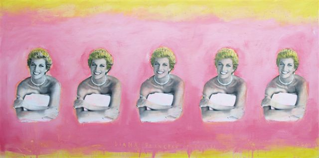 David McGough painting Pink Diana