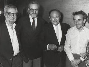 Robert Benton, Alan J Pakula, Joseph Mankowitz, and Louis Malle 1986, NYC.jpg