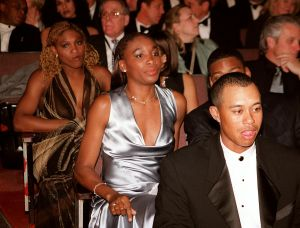Venus and Serena Williams and Tiger Woods, 1998, NY.jpg